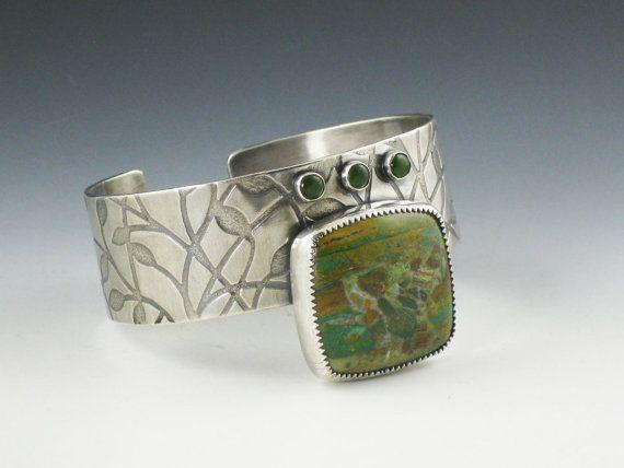 Larsonite Cuff gary green bracelet swamp by MicheleGradyDesigns