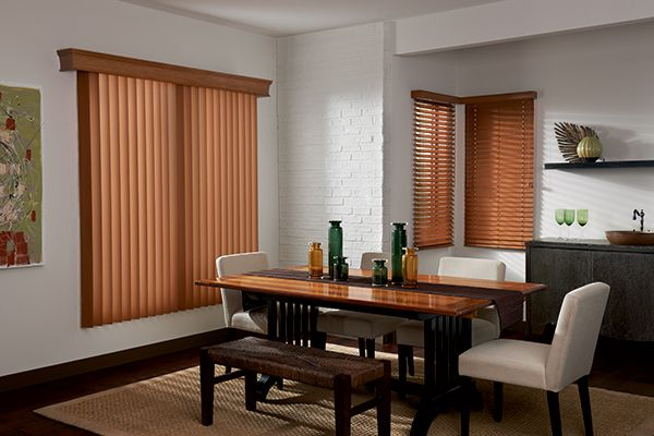 """Vertical Blinds with One Touch: Lake Forest, Cognac 3541; 51/2"""" Royal Cornice in Cognac 1465. Coordinating 2"""" Lake Forest Faux Wood Blinds with Cord Lift/Wand Tilt in Cognac 2645; Standard Wood Valance."""