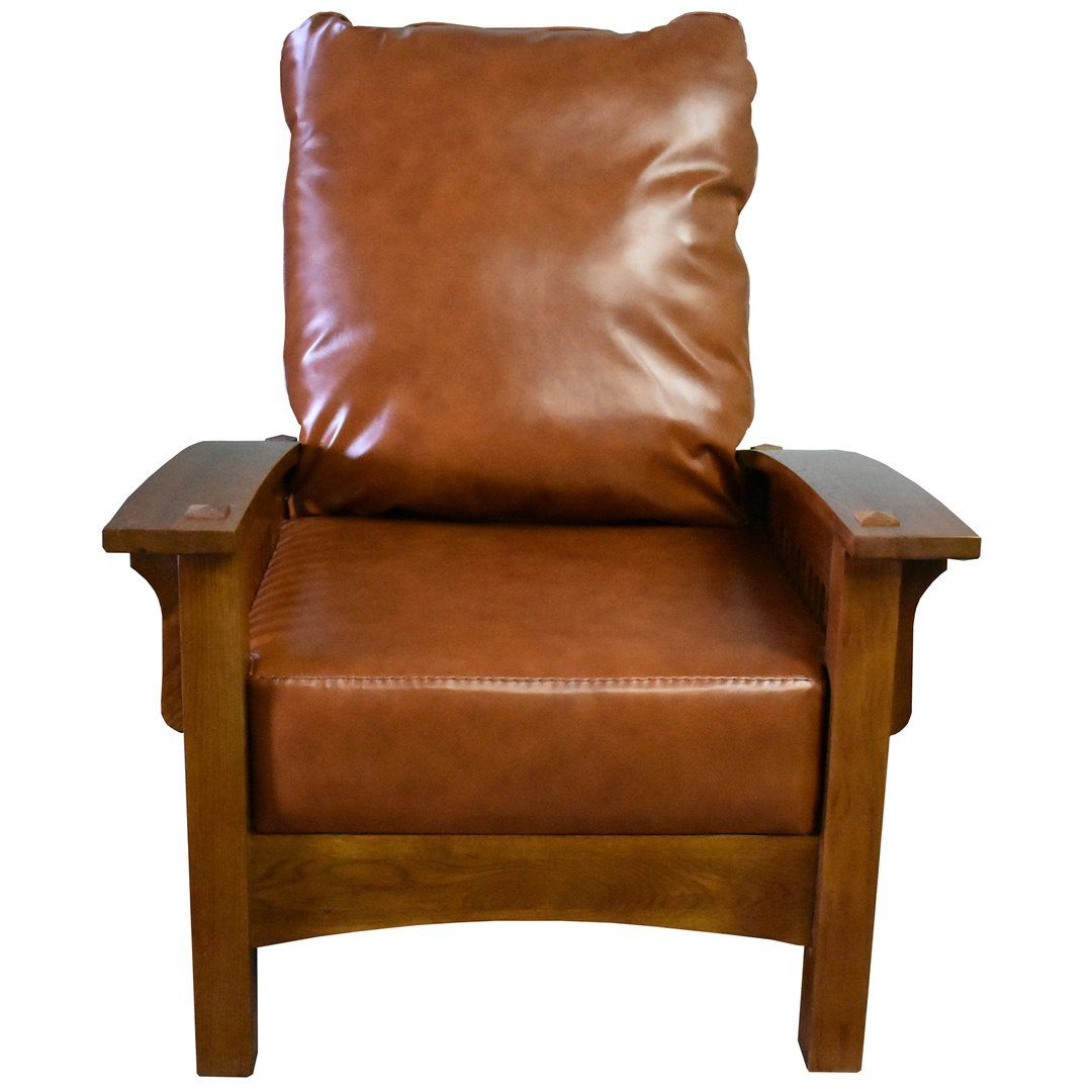 Craftsman mission leather and oak morris chair russet