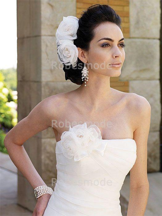 Robes de Mariée chic à traîne palais Corset arrière Fleur à la main en Satin et organza sans bretelles €138.99