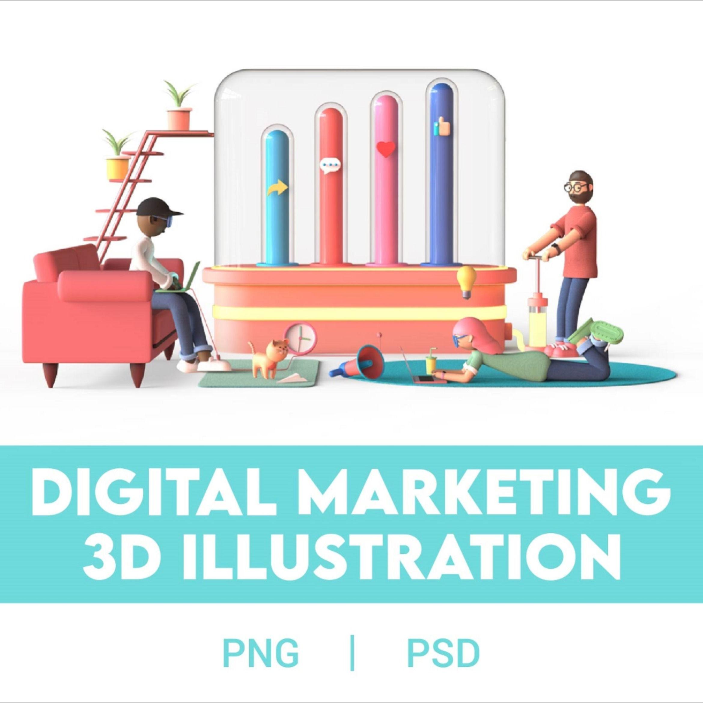 3d Digital Marketing Illustration Digital Marketing Colorful Backgrounds 3d Illustration