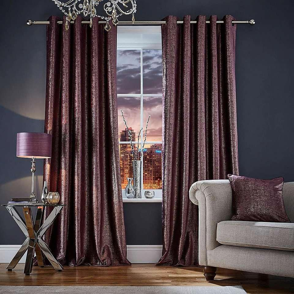 Broadway Plum Eyelet Curtains