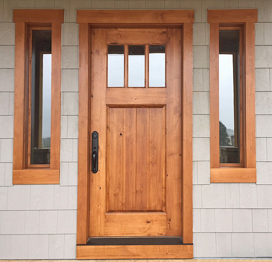 Variation Of Craftsman Style In Knotty Alder With Early American Stain Matching Separate Window Units A Stained Doors Stained Front Door Lake Houses Exterior