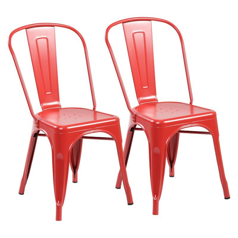 United Chair Industries Industrial Dining Chair with Back - Set of 2 Matte Red - HN-3004-MR02-2