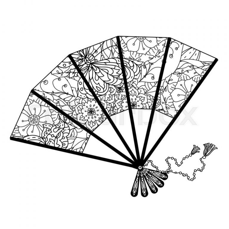 Japanese Fan Coloring Page Japan Coloring Pages Risunki Dlya