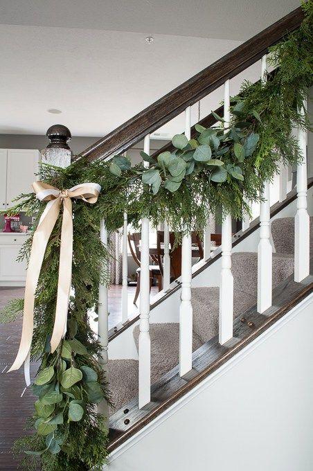 Pine And Eucalyptus Christmas Garland Christmas Stairs