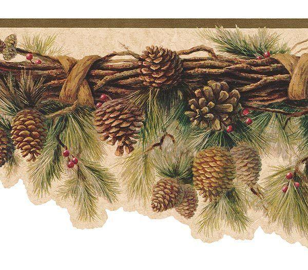 Olive Pinecone Wallpaper Border Wallpaper Border Victorian Wallpaper Pinecone Garland