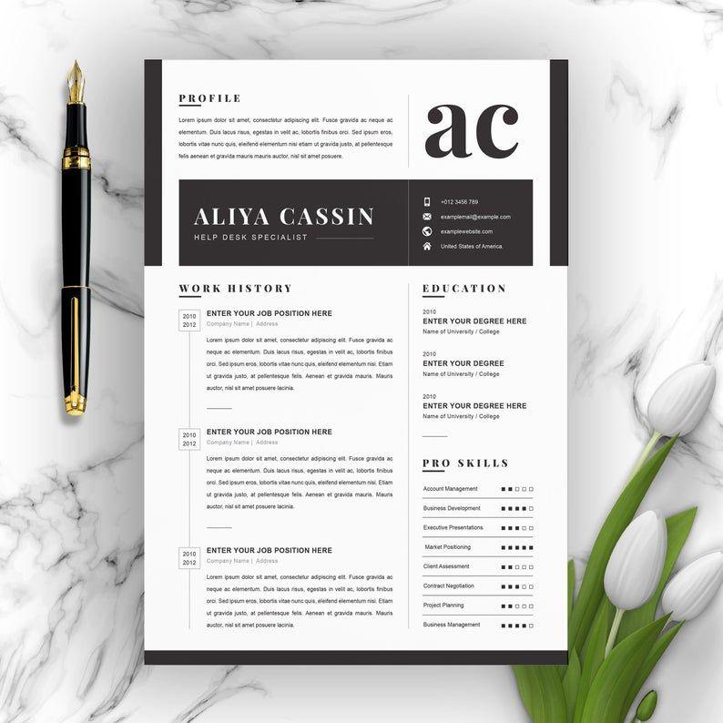 Minimal And Black White Clean Resume Cv Template Etsy Clean Resume Resume Cv Resume