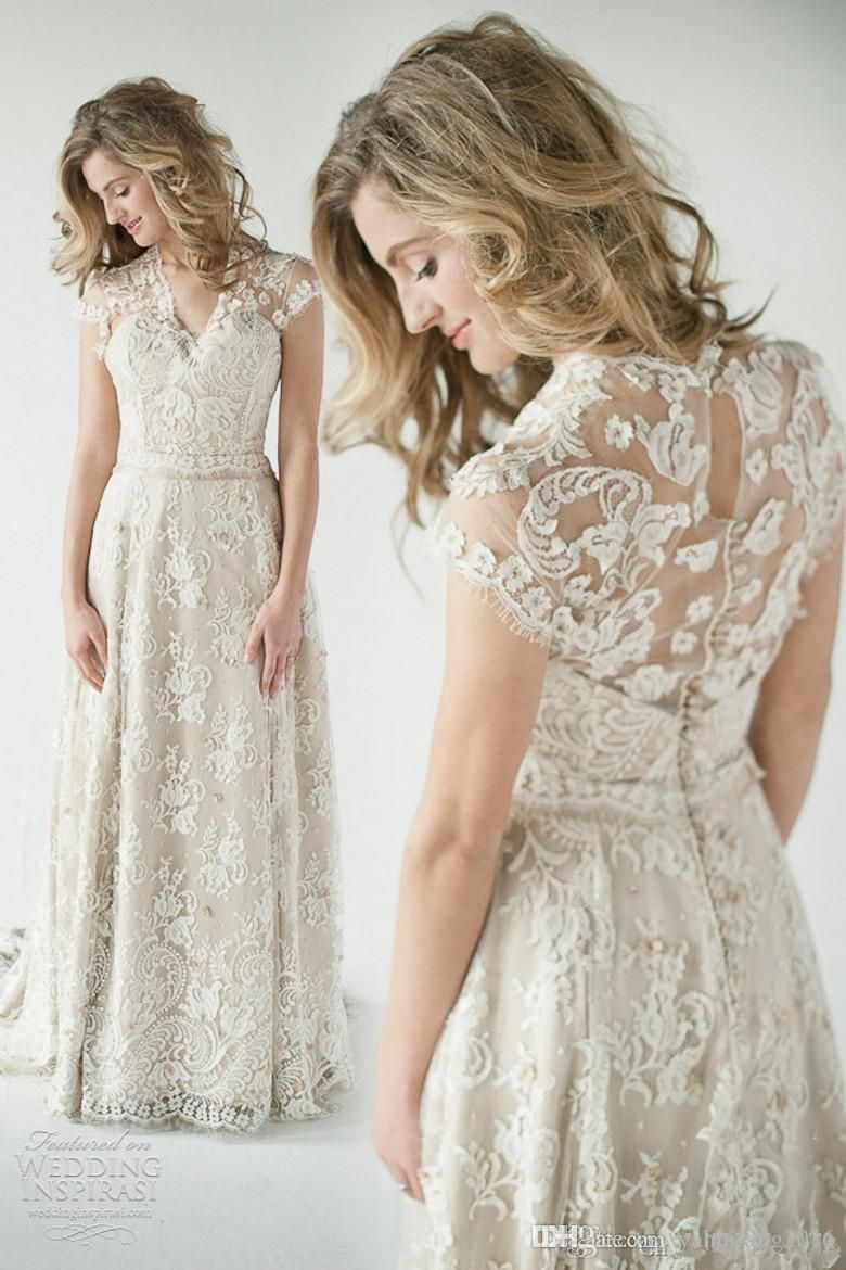 Modest Lace A Line Wedding Dresses V Neck Cap Sleeves See Through Back Floor Length Champagn Wedding Dress Couture Wedding Dresses Lace Lace Back Wedding Dress [ 1170 x 780 Pixel ]