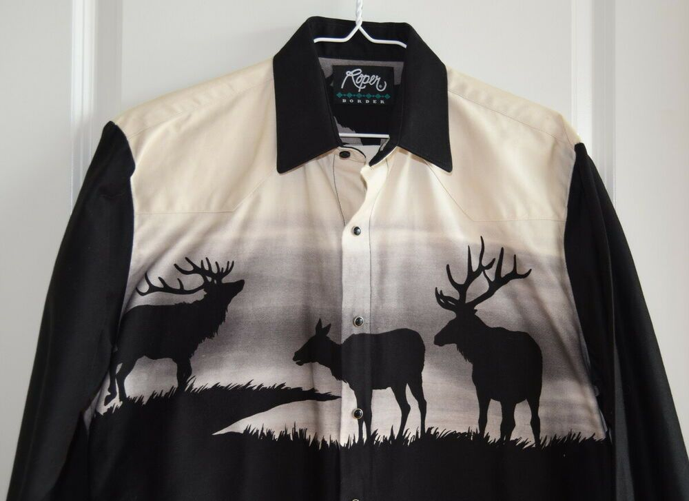 Roper M Med Medium Western Rodeo Cowboy Shirt black white