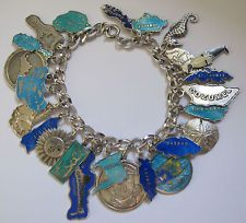 Vtg TLM ENGLISH & EURO STERLING Silver GUILLOCHE Enamel CARIBBEAN Charm Bracelet
