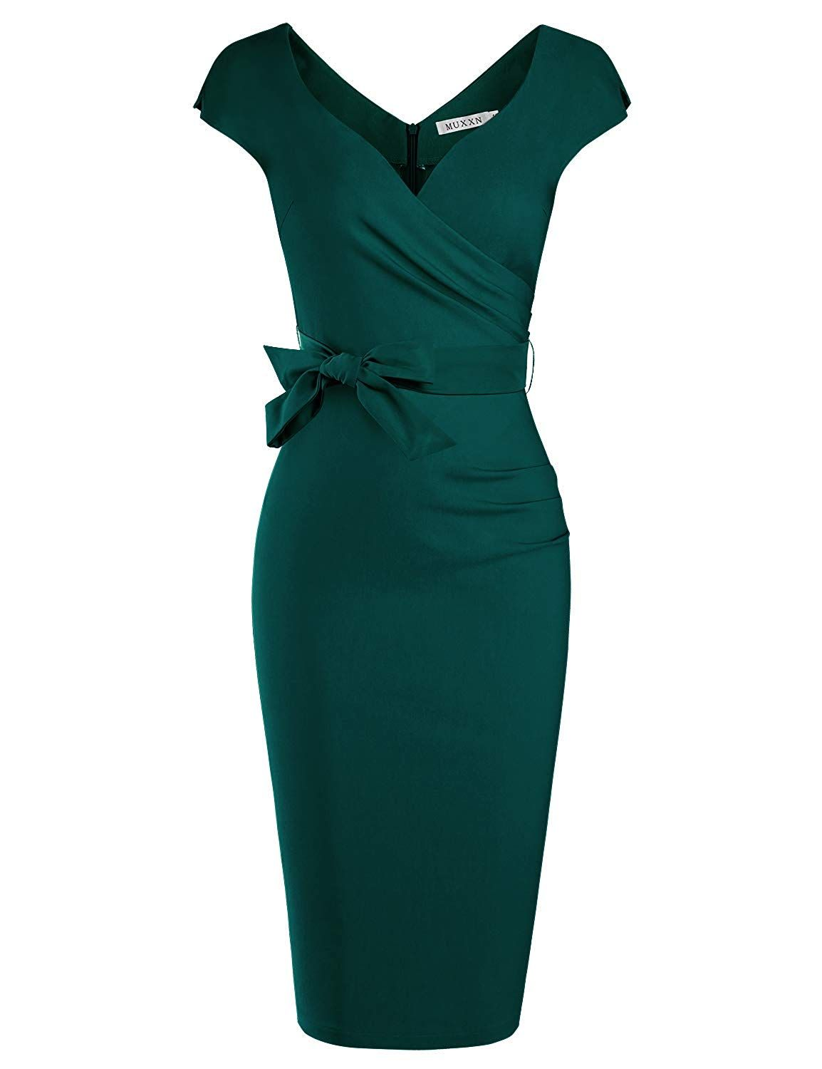 Muxxn Women S Vintage 1950s Style Wrap V Neck Tie Waist Formal Cocktail Dress More Information Can Be Loc Fashion Formal Cocktail Dress Dresses Casual Fall [ 1500 x 1154 Pixel ]
