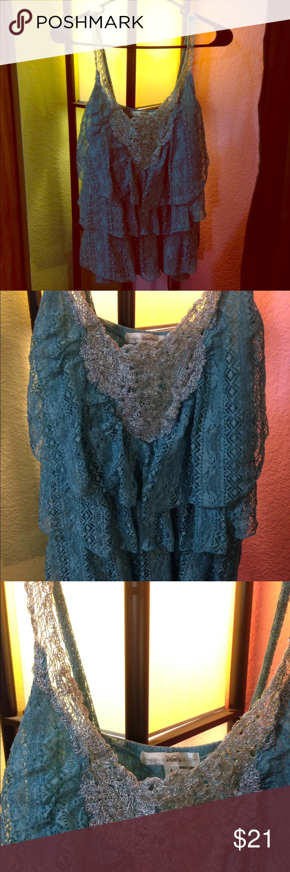 flowy lace tank. •LISTING INFO COMING SOON• -I will be listing stuff all day so in order to get everything listed I will be adding the info for each item later on. thank you for checking out my stuff and if you have any questions feel free to ask away!   Ⓜ️erc. ✔️ ✔️TRADES. 👎🏼NO holds. 📦Shipping same day or next.      •I do no ship Sat or Sun. Vanity Tops Tank Tops