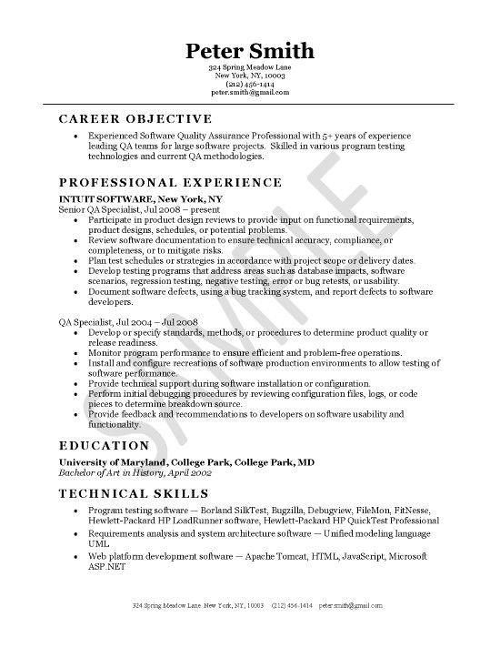 Quality Assurance Engineer Free Resume Examples Good Resume Examples Resume Examples