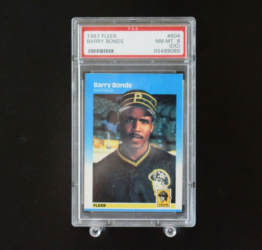 1987 fleer barry bonds 604 rc graded psa 8 pirates same