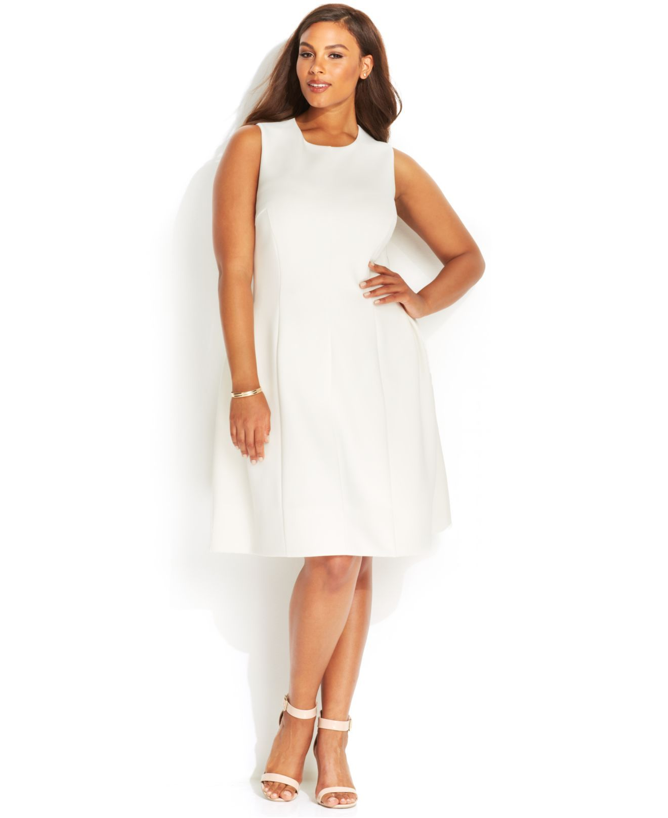 White scuba dress plus size