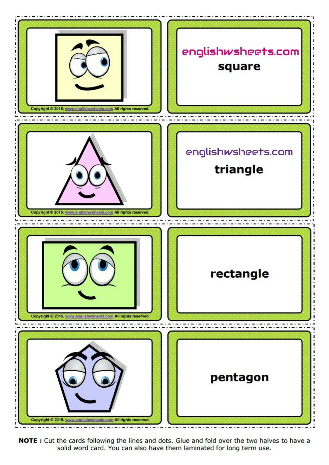 Esl Printable Shapes Flashcards And Game Cards For Kids