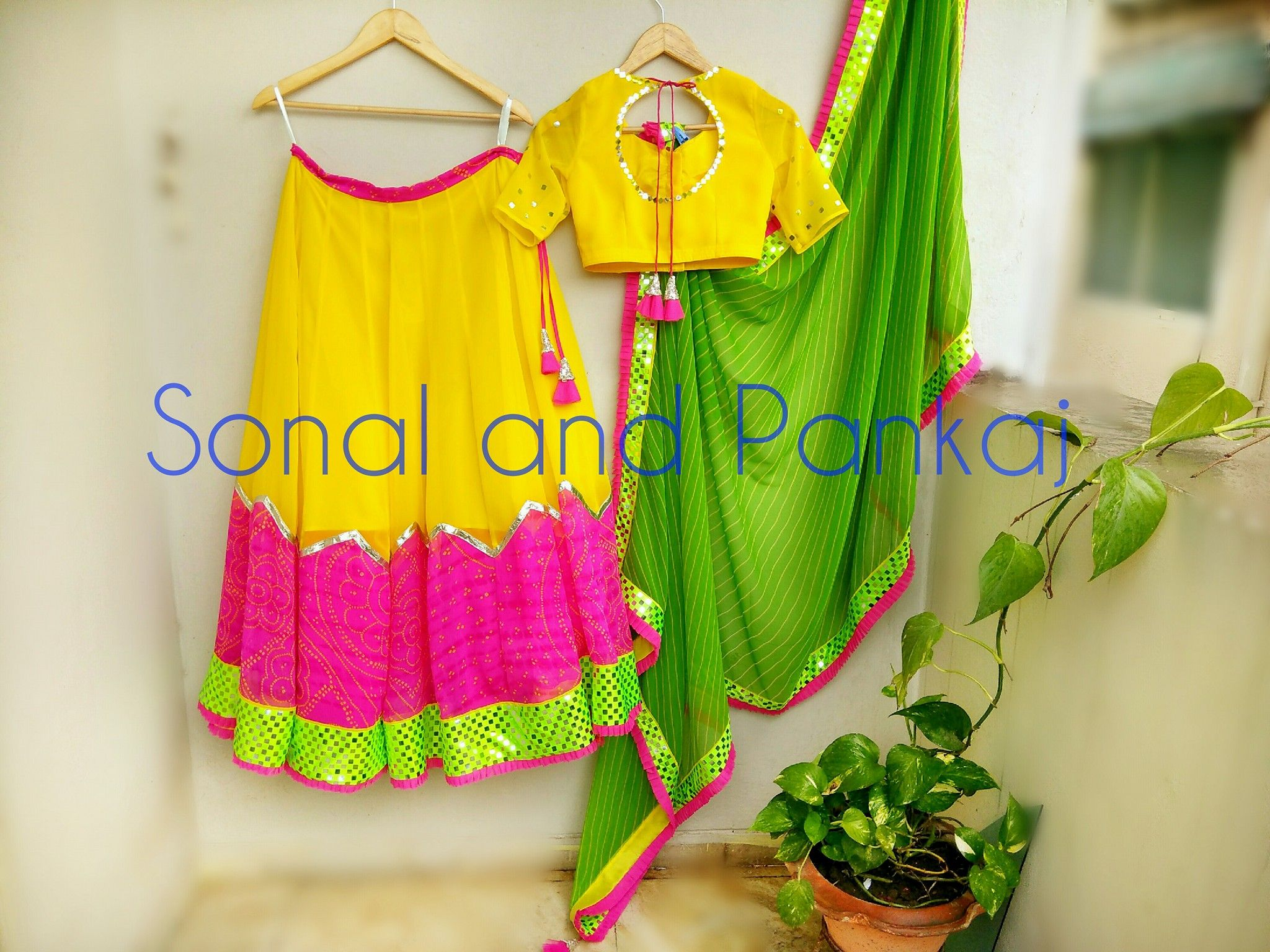 Rich in color combination! Beautiful yellow pink and green color ...