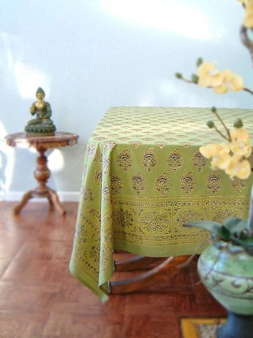 Green Tablecloth, Asian Tablecloth, Indian Tablecloth, Tablecloth Table,  Cotton Tablecloth