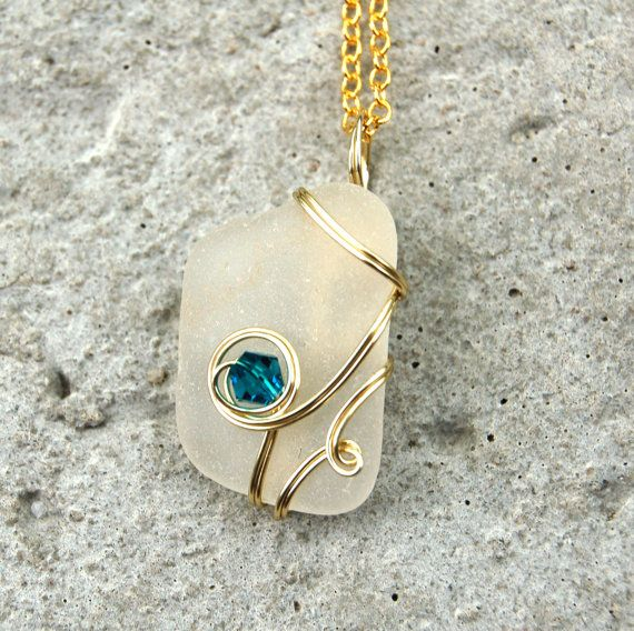 wire wrapped recycled glass pendant. Gold Wire Wrapped Sea Glass Necklace With Turquoise Crystal - Jewelry Handmade Beach. NecklaceGlass PendantsRecycled Recycled Pendant R