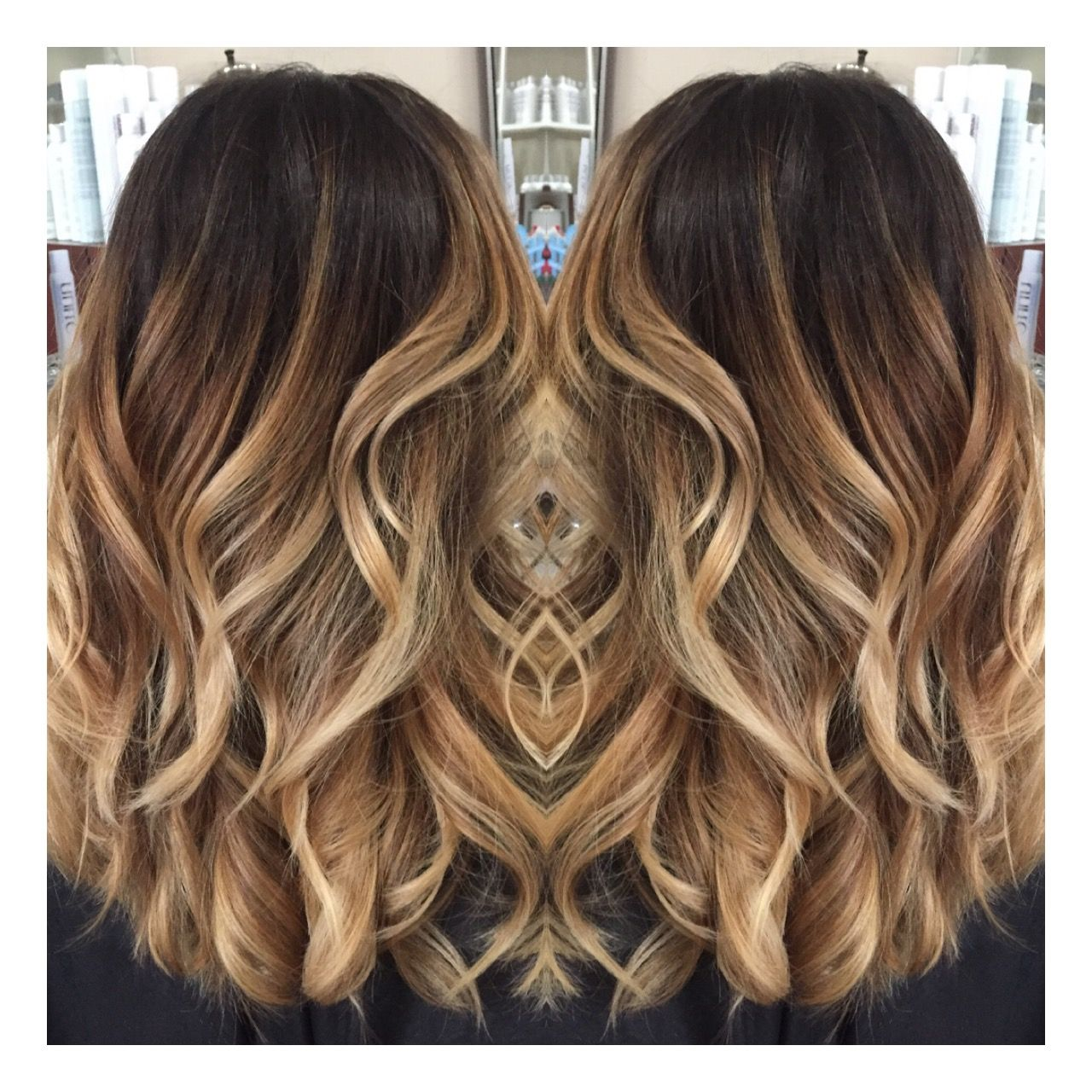 Seamless subtle ombre dark ombre contrast ribbons Balayage