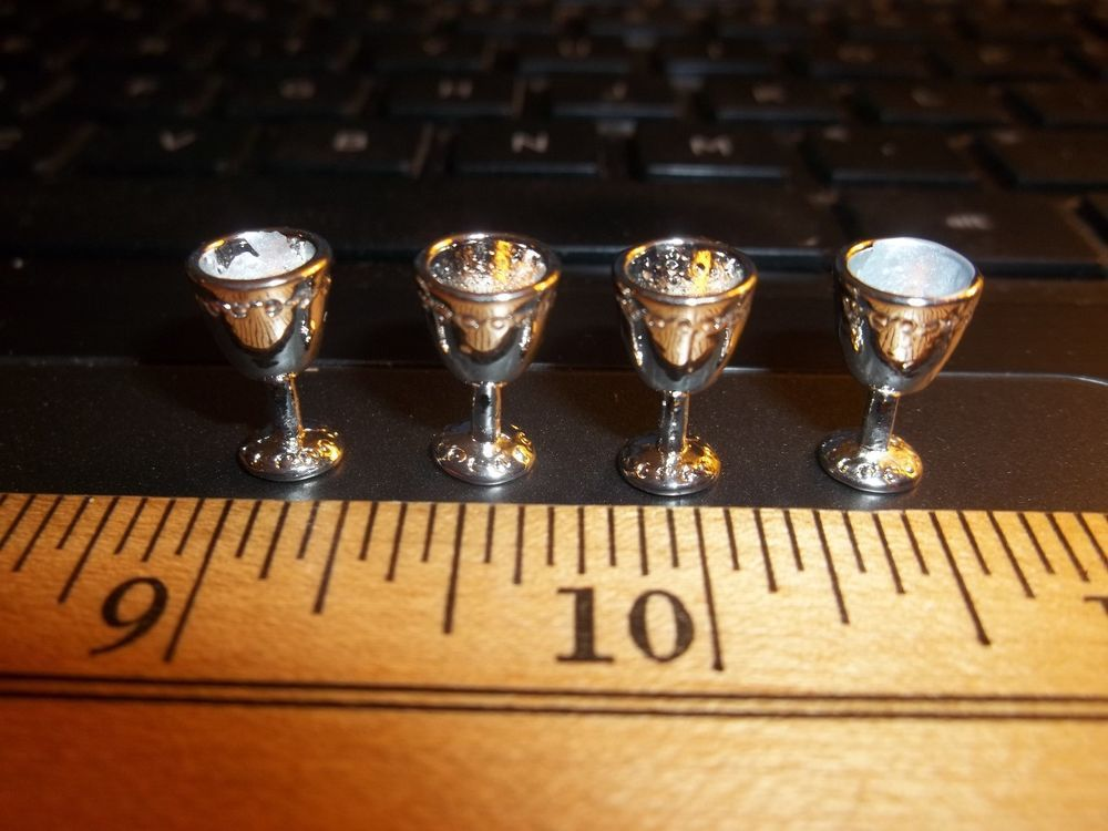4 ANTIQUE SILVER WINE GLASSES - GOBLETS -   DOLL HOUSE  MINIATURE #MINIATURESWORLDPARIS
