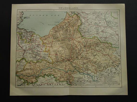 Antique map of Gelderland Dutch province 1907 original old print