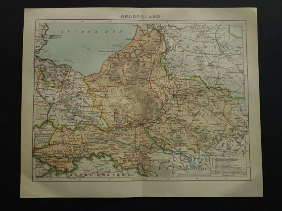 Antique map of Gelderland Dutch province 1907 original old Antique