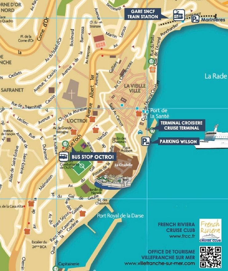 VillefranchesurMer tourist map Maps Pinterest Tourist map