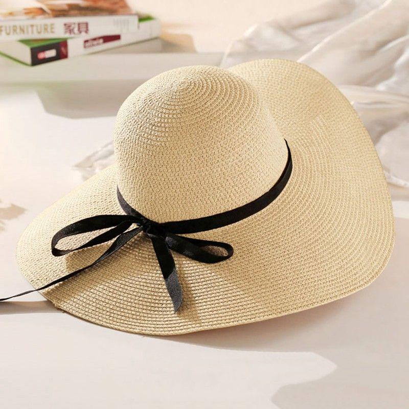 2f635100c008b 2019 Sun Hat Hot Sale Round Top Raffia Wide Brim Straw Hats Summer Sun Hats  for Women With Leisure Beach Hats Lady Flat Gorras-in Sun Hats from Apparel  ...