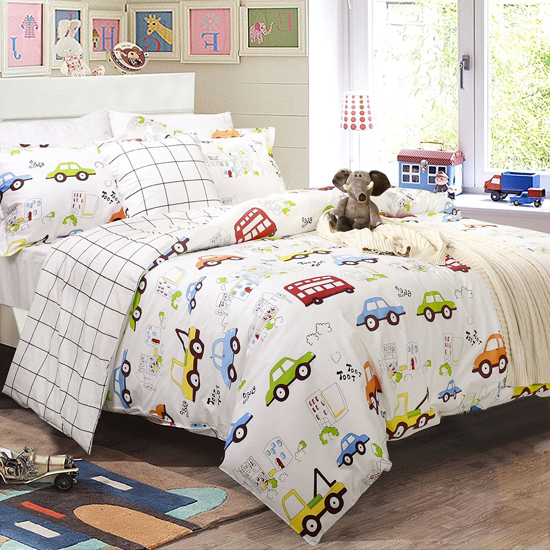 Kids Boys Bedding Cars Vehicles Duvet Cover Set 3Piece