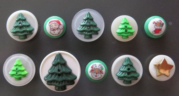 10 Christmas Holiday Vintage button magnets