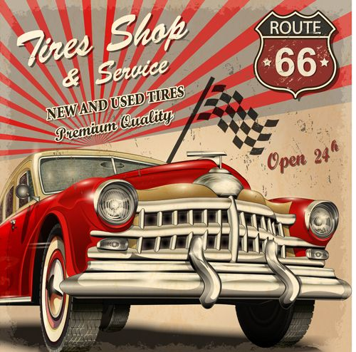 vintage car with travel poster vector set 05
