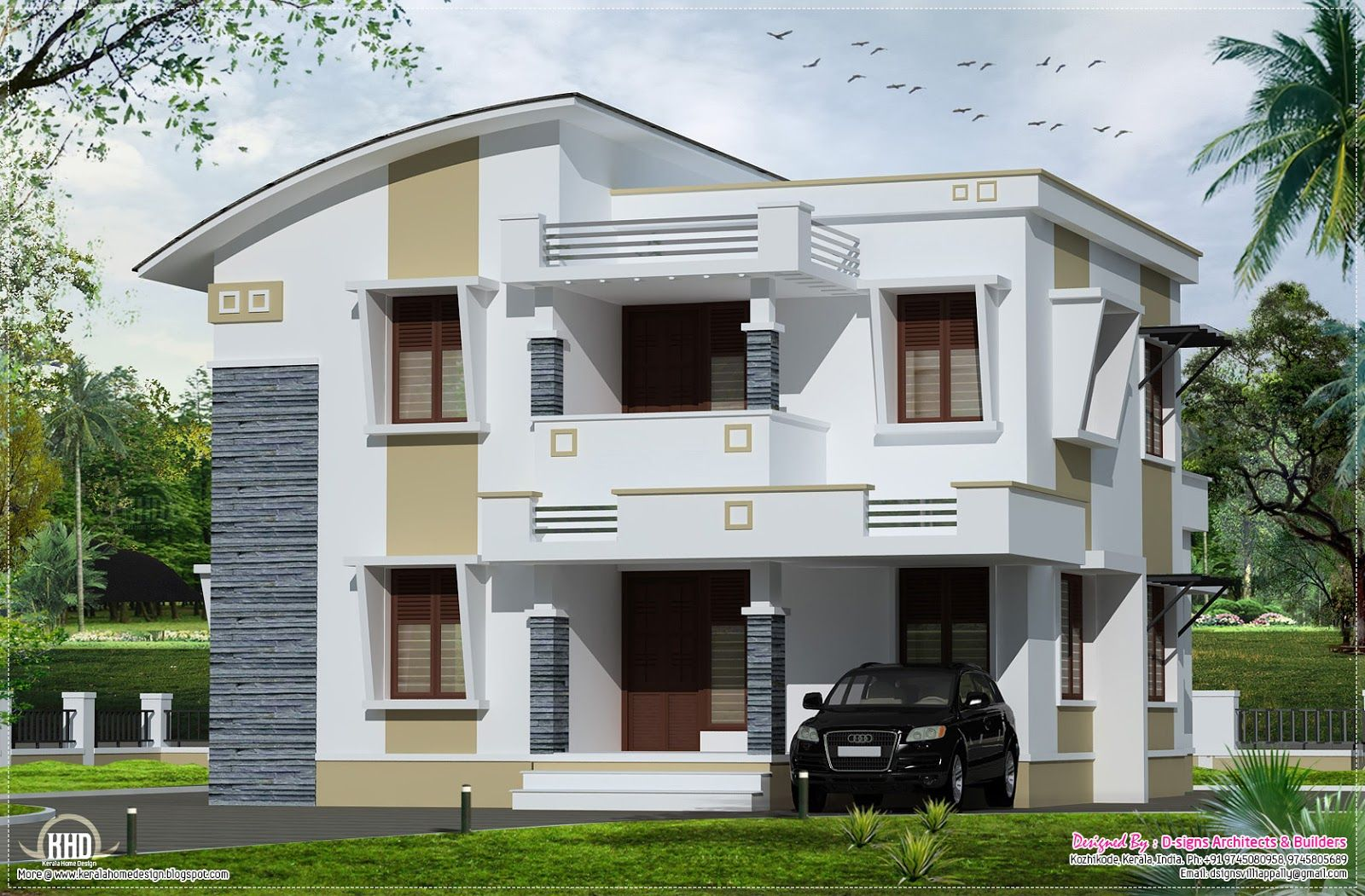 Picture of house roof design home designed by  signs architects builders kozhikode kerala also simple flat in sq feet homes casas rh ar pinterest