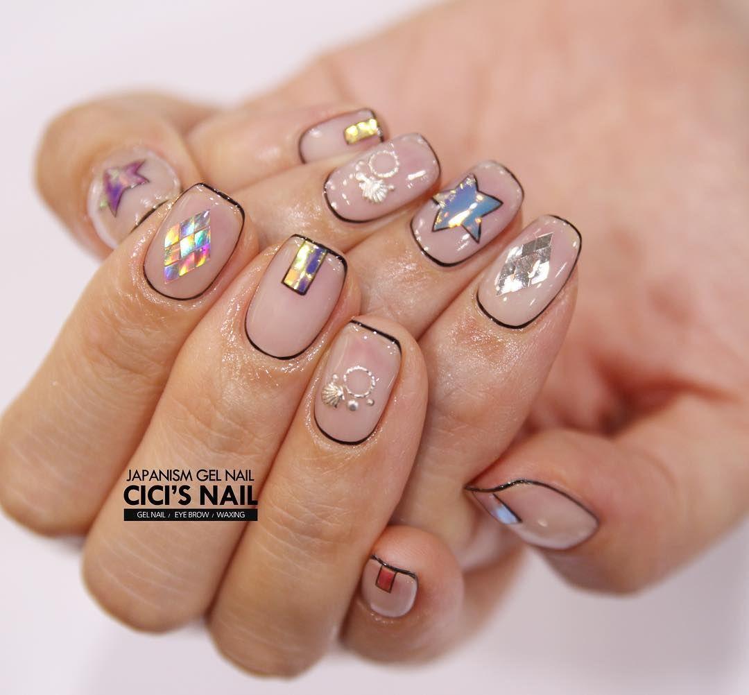 Esq meio Dir pulgar Indicadores Nails Pinterest Manicure