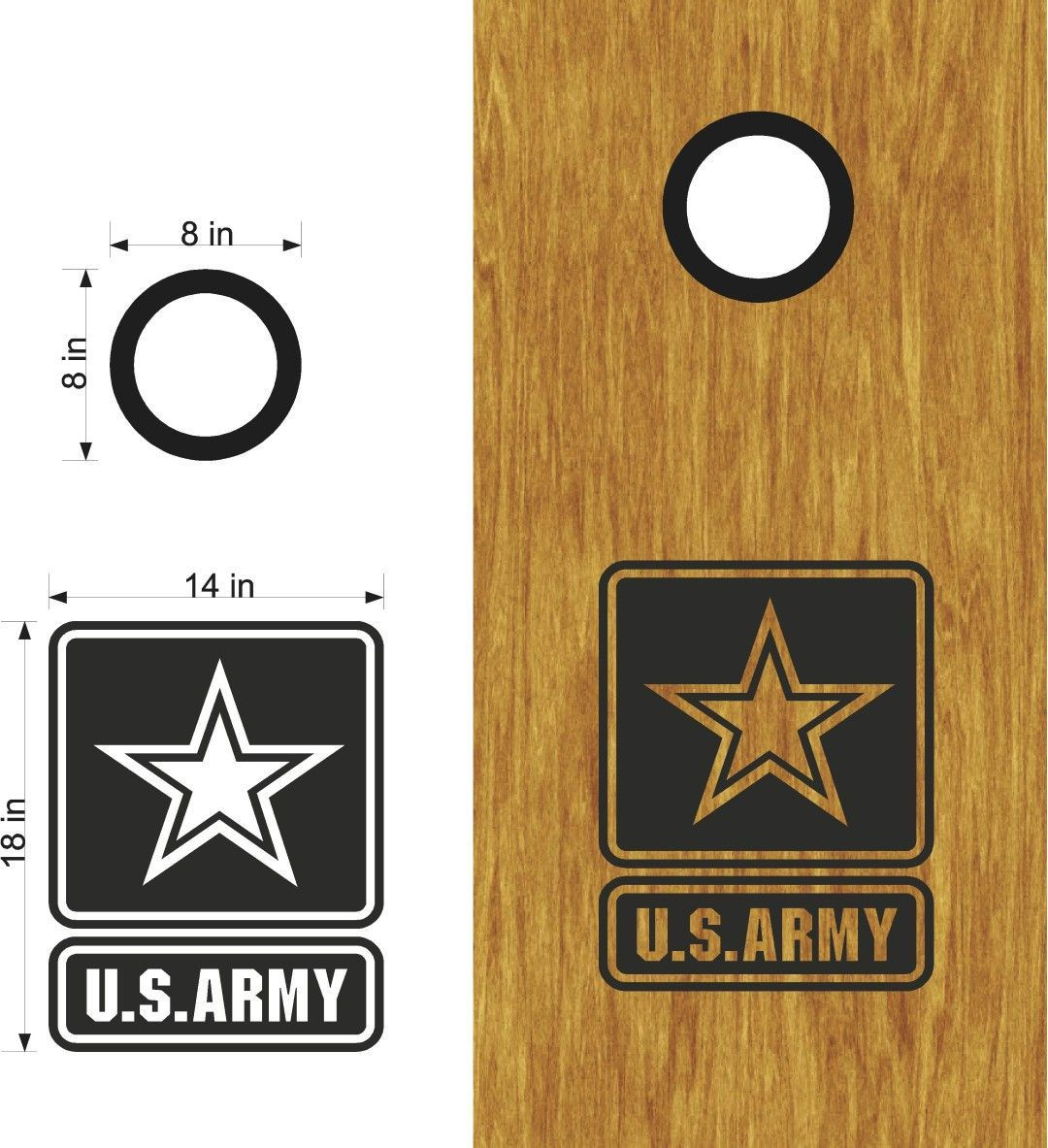 Us Army Servicemen Women Board Vinyl Decal Sticker Graphic Custom Text Bean Bag Toss