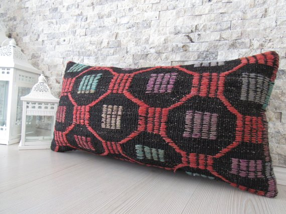Organic Color Kilim Pillow 12x24 Home Decor Armchair Pillow Wool Bohemian Pillow Decorative Pillow A