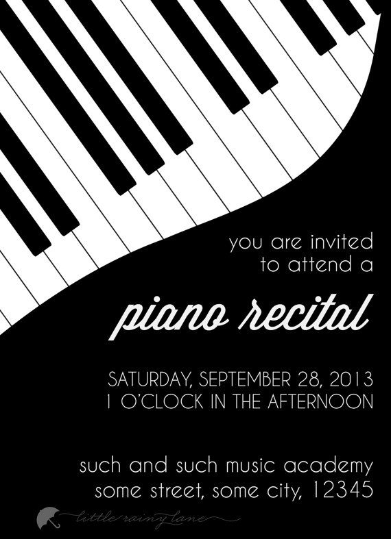 Piano Recital Invitation Custom Digital File For You To Print At Home Or By Printer