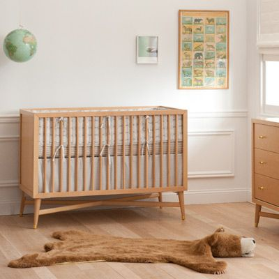 Mid Century Mod Reproduction Natural Wood Crib Also Can