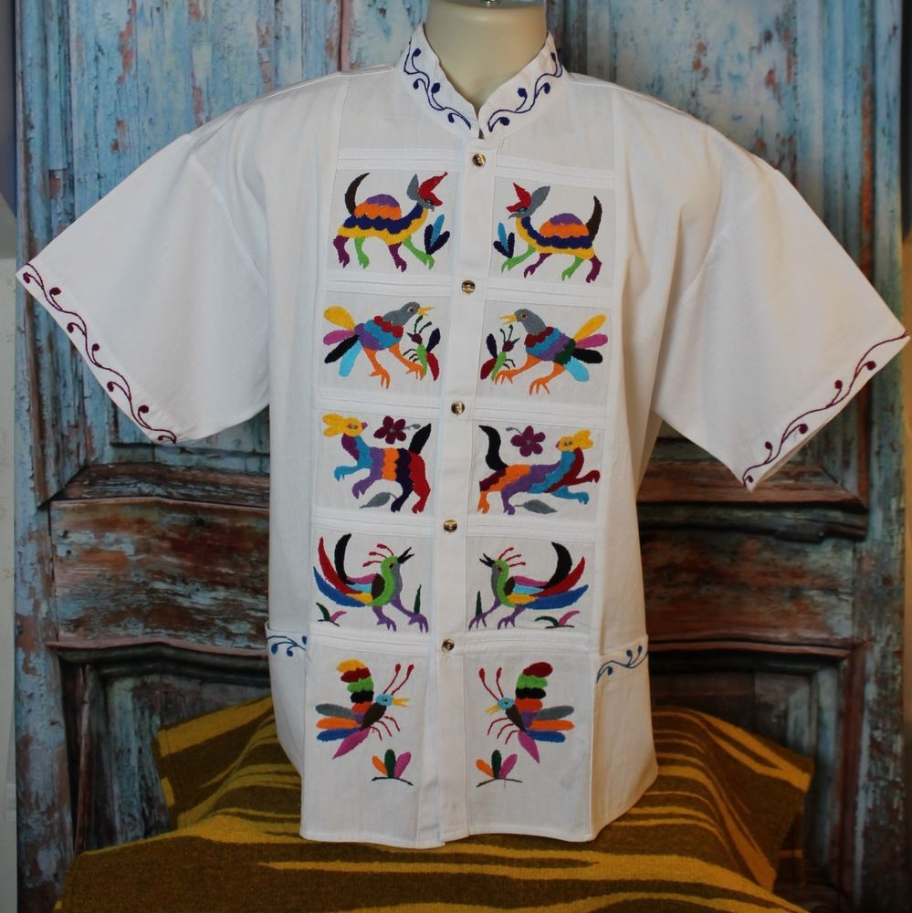 XL Otomi Embroidered Men's Guayabera Latin American Shirt