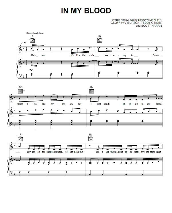 26 Best Images About Boomwhackers Sheet Music Partituras: In My Blood Sheet Music Shawn Mendes