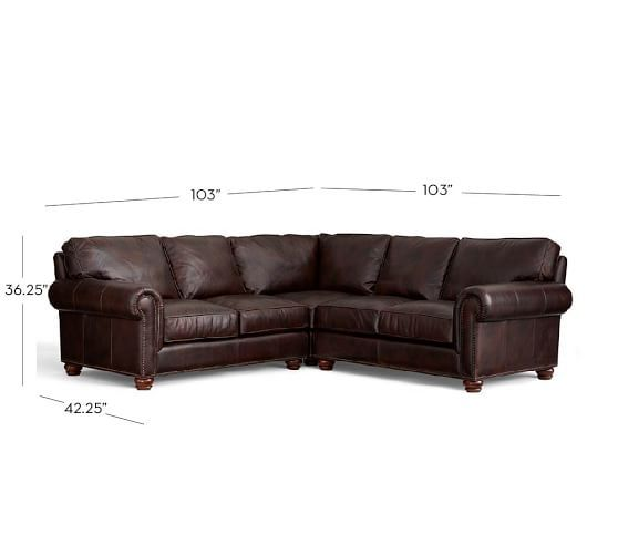 Webster Roll Arm Leather 3 Piece L Shaped Sectional With Corner