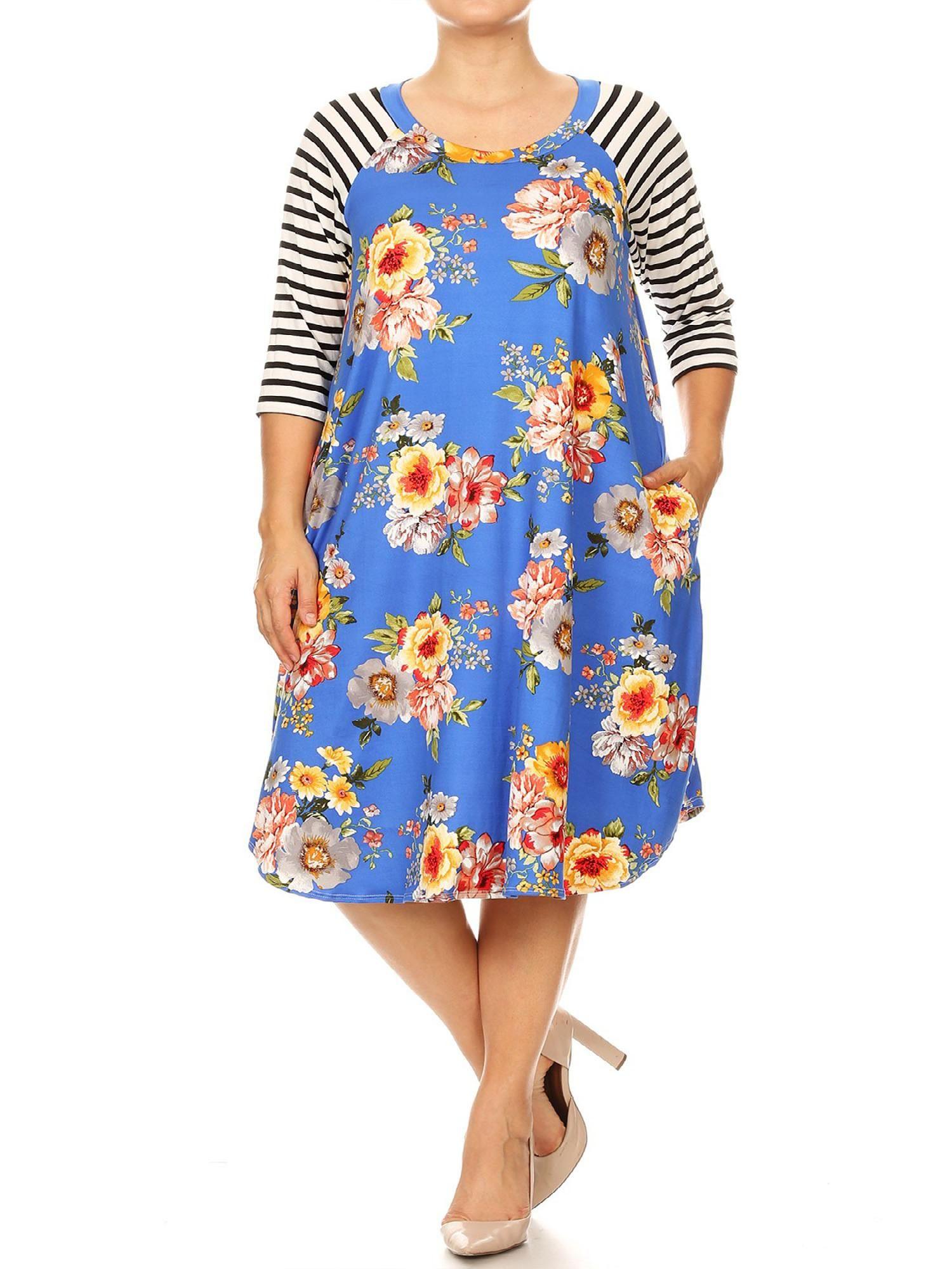 Moa Collection Women S Casual Pattern Print Plus Size Striped Loose Fit Pockets Midi Dress Made In Usa Ad Pattern Affilia Casual Women Dress Making Dresses [ 2000 x 1500 Pixel ]