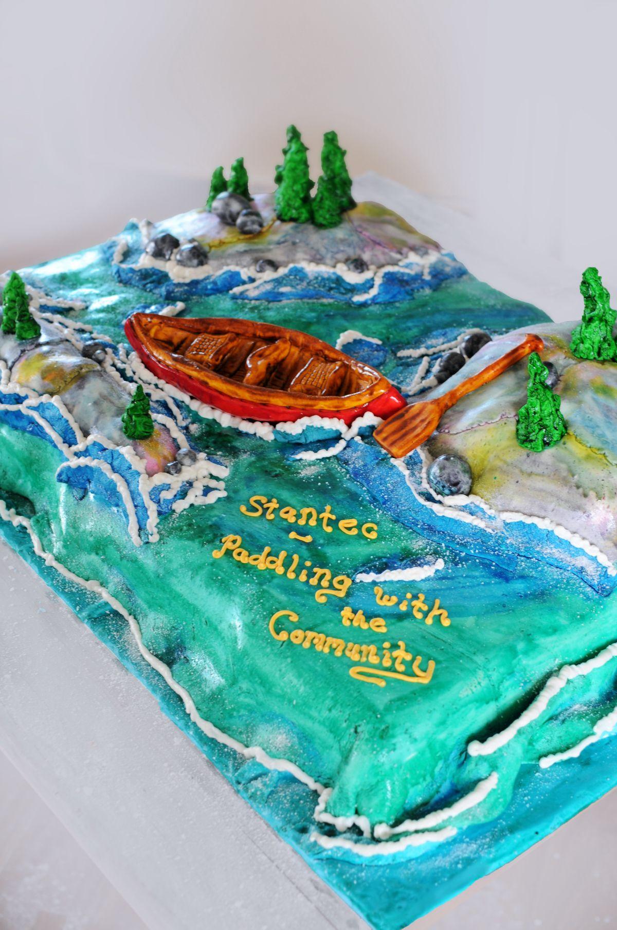 Canoeing Cake Canoe Cake Nature Cake Outdoor Scene Cake