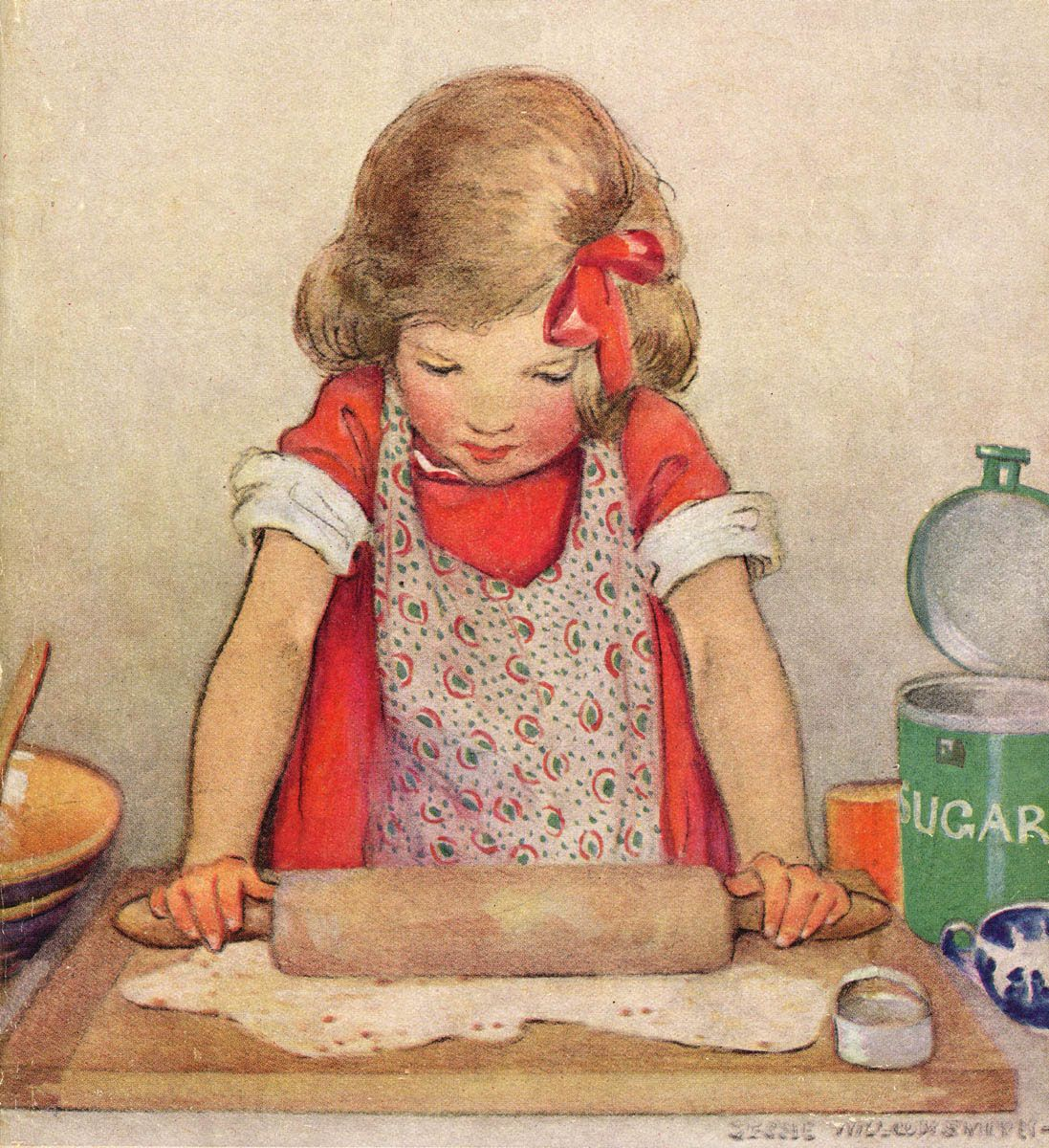 girl with rolling pin ~ this is also the cover of a vintage cook book for children. I have the book ~ I would tell you the name but we just moved & it is still packed.