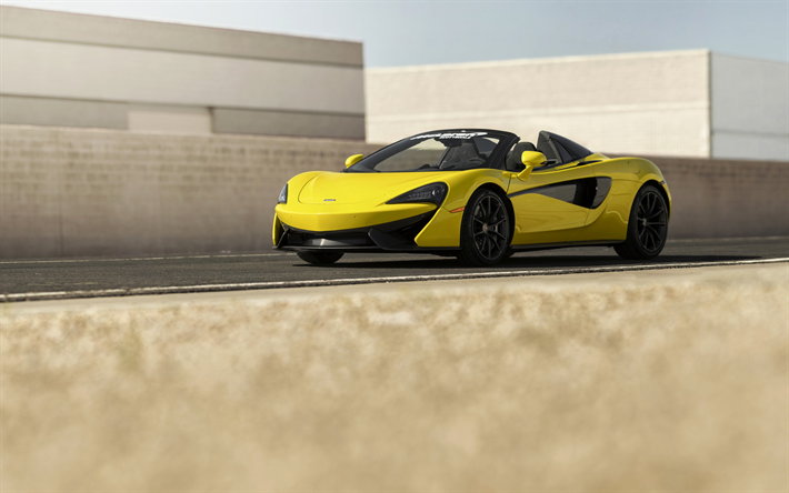 Download Wallpapers Mclaren 570s Spider Road 2018 Cars Yellow 570s Supercars Mclaren Besthqwallpapers Com Sports Coupe British Cars Super Cars