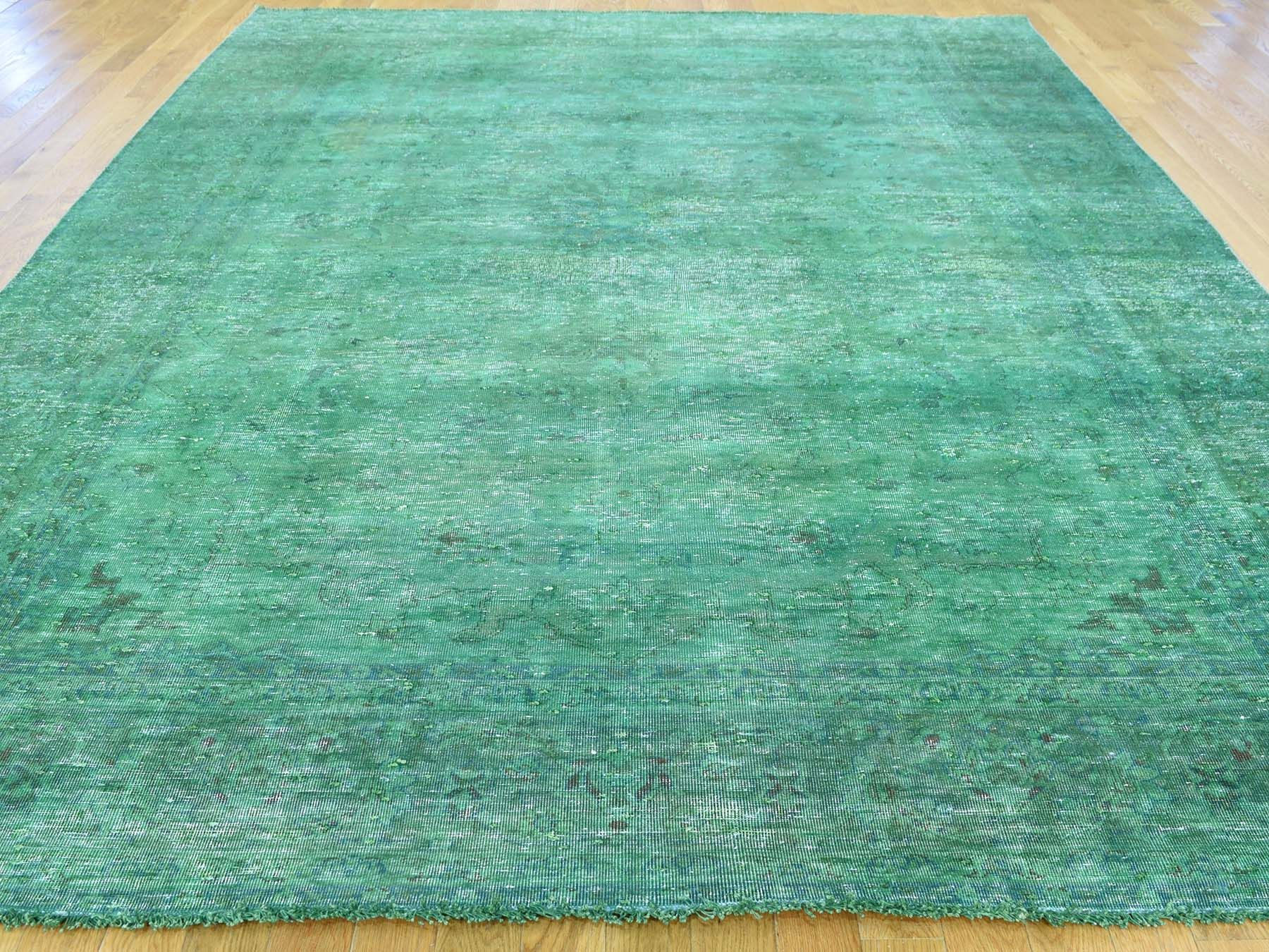 Green Rugs For Sale.8 X10 9 Hand Knotted Pure Wool Overdyed Tabriz Distressed