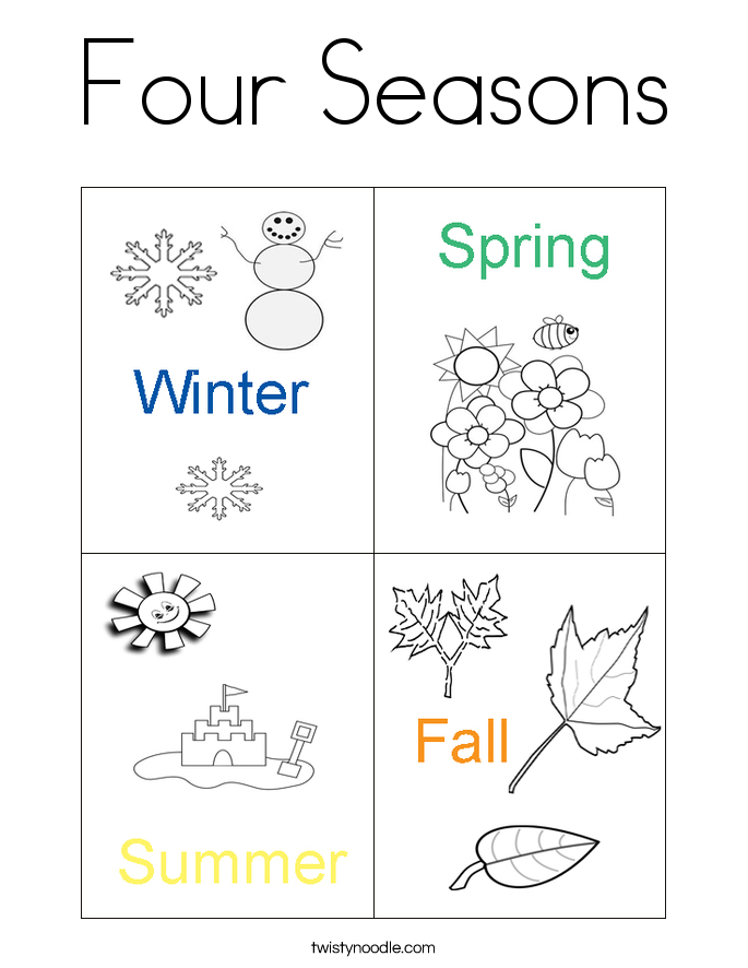 four seasons coloring page that you can customize and print for kids related image