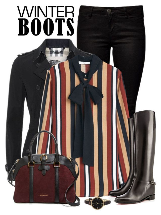 """""""Sleek Boots"""" by seafreak83 ❤ liked on Polyvore featuring ONLY, Burberry, MANGO, Christian Louboutin, Kate Spade and winterboots"""