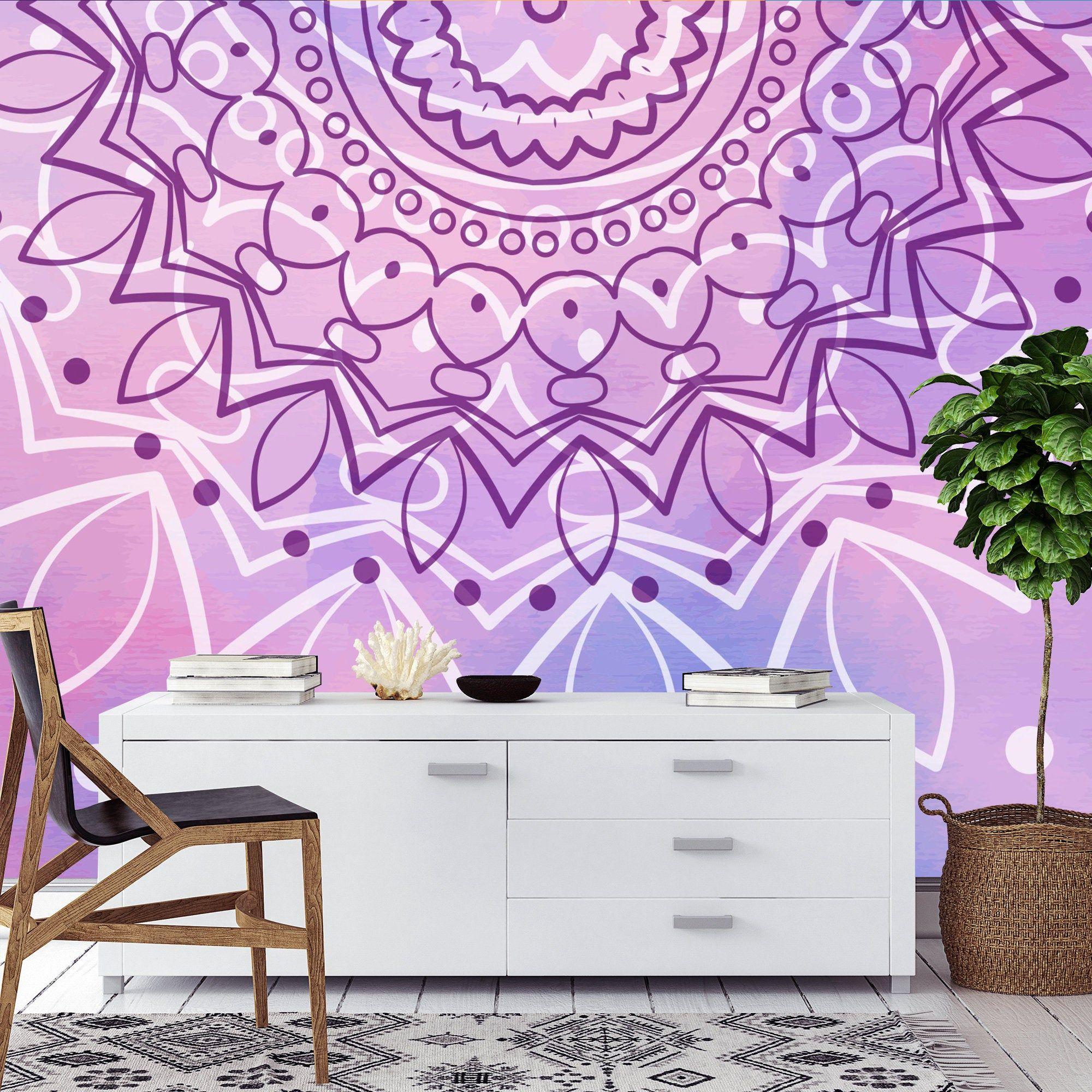 Mandala Wallpaper Removable Wallpaper In Purple Peel And Stick Wallpaper Self Adhesive Wall Mural 53 Mandala Wallpaper Removable Wallpaper Mural Wallpaper